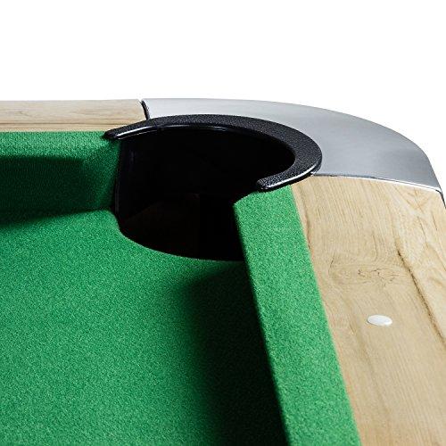 """Maxstore 7 ft Billardtisch Premium"""" + Zubehör, 9 Farbvarianten, 214x122x82 cm (LxBxH), helles Holzdekor, grünes Tuch"""