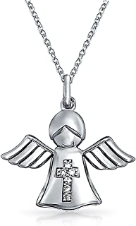 Guardian Angel CZ Wings Cross Communion Gift Pendant for Women Necklace 16 in Chain 925 Sterling Silver