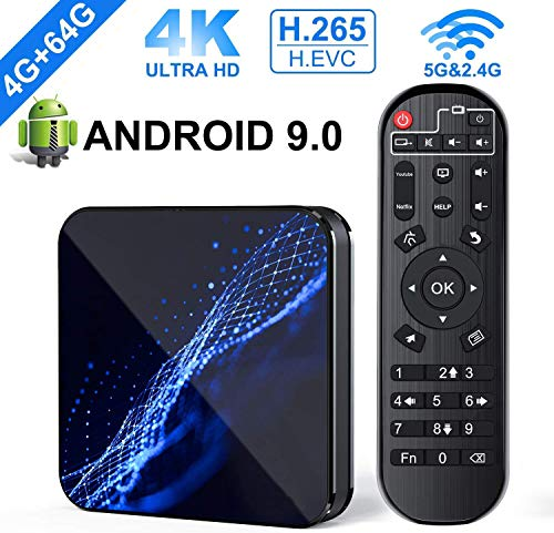 Smart TV Box Android 9.0 [4GB+64GB] Smart M5 TV Box mit RK3318 Quad-Core 64bit Prozessor Unterstützt 2.4GHz/5.0GHz Dual WiFi Bluetooth 4.0 4K Ultra HD 3D mit Smart Android TV Box