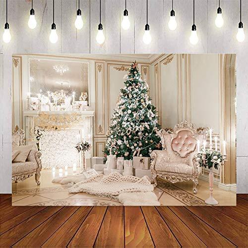 Weihnachtskamin Hintergrund für Fotografie Herrliche Weihnachtsbaum Wohnzimmer Foto Hintergrund Dekoration A1 10x10ft / 3x3m