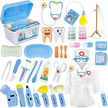 LOYO Medical Kit for Kids - 35 Pieces Doctor Pretend Play Equipment Dentist Kit for Kids Doctor Play Set with Case