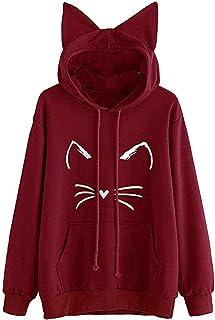 iHENGH Damen Frühling Sommer Bequem Lässig Mode Frauen beiläufige liegende Katze gedruckte Lange Hülsenkatze Ohr mit Kapuze Sweatshirt Taschen Oberseiten