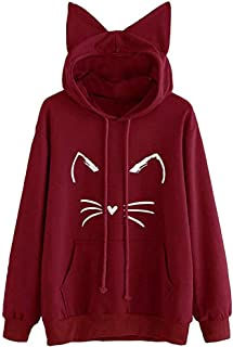 Pgojuni Women Long Sleeve Tops Sweatshirt Pullover Causal Cat Ear Casual Hoodies Blouse Outwear