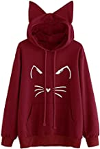 FORUU Women Christmas I'm a cat Print Comfy Soft Cute Teen Girls Casual Long Sleeve Velvet Hoodies Sweatshirt Pullover