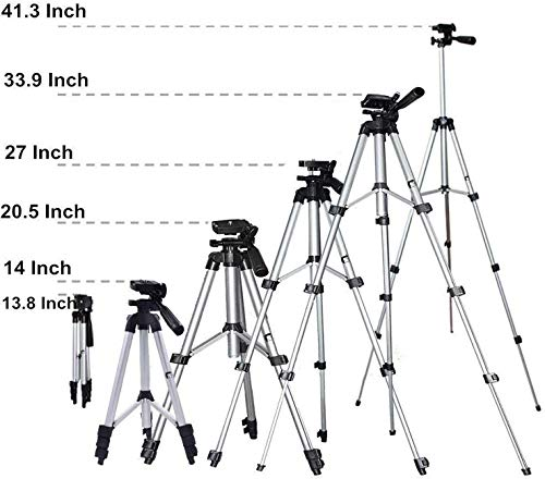 Tripod Stand with Bag by Prosmart   Aluminium Tripod Stand   Adjustable Tripod Stand   Portable and Foldable Tripod Stand   Mobile Clip & Camera Holder Tripod Stand