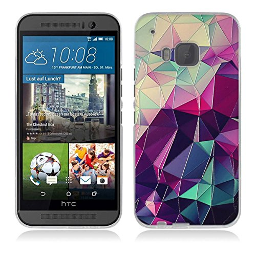 Gift_Source HTC One M9 Hülle, HTC M9 Hülle, [Bunter Würfel] Hülle Hülle Transparent Weiche Silikon Schutzhülle Handyhülle Durchsichtig TPU Crystal Clear Hülle Backcover Bumper Hülle für HTC One M9