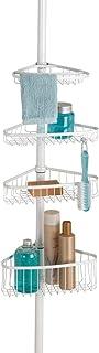 mDesign Estantería de ducha con barra telescópica de metal – Práctico organizador de ducha extensible para jabón, champú, manoplas, etc. – Estantería para ducha esquinera sin taladros – blanco mate
