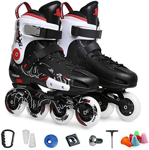 LCFF Patines Confortables Inline Roller Skates Roller Blades Profesionales for Interiores y Exteriores for Hombre y Mujer Unisex Adulta (Color : Black, Size : 4.5 UK/38 EU)