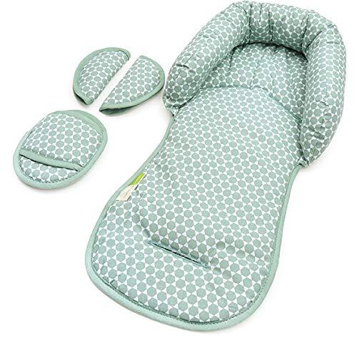 PRIEBES EMIL Sitzverkleinerer mit Gurtpolster | Universal-Set mit Kopfschutz & Sitzverkleinerer & Gurtpolster für jede Babyschale | atmungsaktiv| Schonbezug 100% Baumwolle, Design:Prisma mint