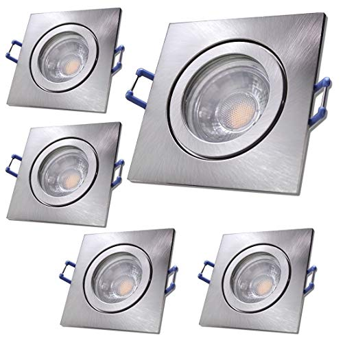LED Bad Einbauleuchten 230V inkl. 5 x 3W LED LM Farbe Eisen geb. IP44 LED Deckenspots Neptun Eckig 3000K Einbaustrahler