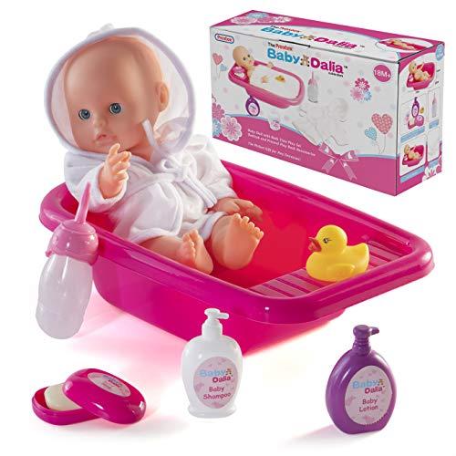 Prextex 8 Pezzo Doll Set bagno con la bambola, vasca da bagno, accappatoio e Accessori Bagno - Baby Doll Dalia Bathing Gift Set per ragazzi e ragazze