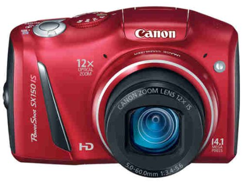 Canon PowerShot SX150 IS 14.1 MP Digital Camera with 12x Wide-Angle Optical Image Stabilized Zoom with 3.0-Inch LCD (Red) (OLD MODEL)