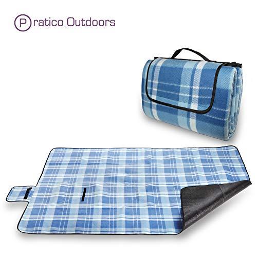 Pratico GC02Hülle Outdoor Premium Extra große Picknick & Outdoor Decke mit Verbesserte Unterstützung, mit Schnalle, & Maschinenwaschbar, blau, Standard - 60 x 80 in