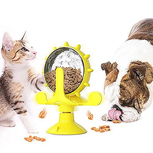 Windmühle Katzenspielzeug, rotierender Katzenspielzeug-Drehteller, Nahrungsspender mit Saugnapfboden und undichtem Loch, verwendet für interaktives Spielzeug für Katzen und Kätzchen in Innenräumen