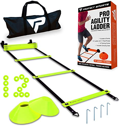 Product Image 1: Pro Agility Ladder and Cones – 15 ft Fixed-Rung Speed Ladder with 12 Disc Cones for Soccer, Football, Sports, Exercise, Workout, Footwork Training – Includes 4 Stakes, Heavy Duty Carry Bag (Yellow)