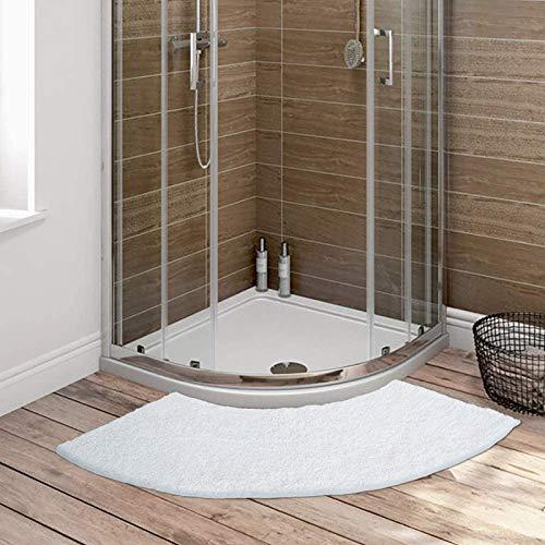Ledph Badematte Halbrund, Badteppich Eckdusche aus Mikrofaser, Gebogene Duschmatte In Weiß, rutschfeste Unterseite, Waschbar, 45x100cm