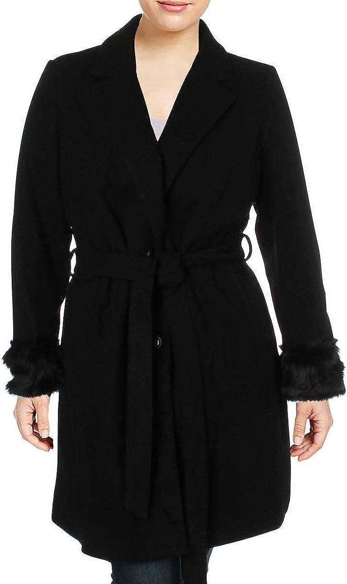 City Chic Womens Plus Faux Fur Cuff Long Dress Coat