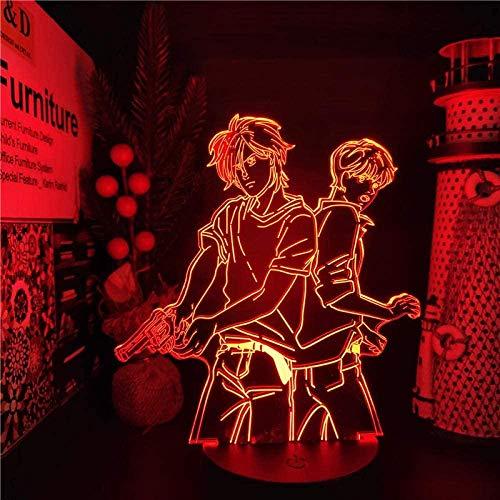 Anime Banana Fish Grey Tmall Team Figura Luz de noche 3D Luz de ilusión LED 7 cambio de color USB Decoración del hogar Juguete de cumpleaños Regalo 3-12 años Niños y niñas