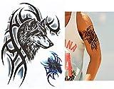 Tatuaje para hombre lobo tribal negro y azul HB820
