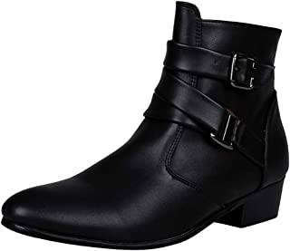 Qootent Men Pointed Leather Boots British Style Buckle Boots Martin Boots Shoes
