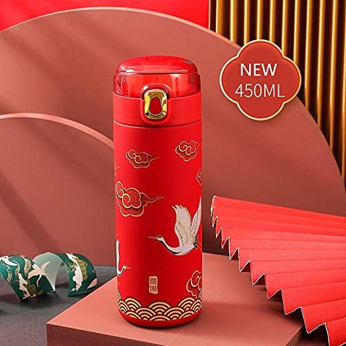 XKMY Botella termo caliente y fría termo inteligente Botella de café de estilo clásico chino con pantalla táctil LED de acero inoxidable taza térmica taza de té (capacidad: 401-500 ml, color: rojo-2)