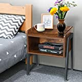 Kingso Nightstand Side Table End Table Stackable Bedside Table Record Player Stand with Storage for Bedrooms, Living Room Night Stand for Small Spaces with Stable Metal Frame, Rustic Brown