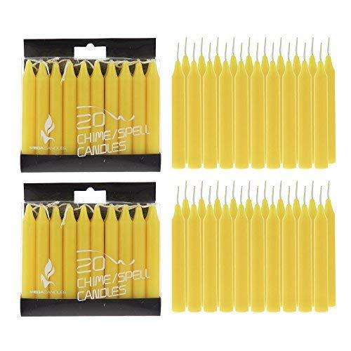 Mega Candles - Unscented 4' Mini Chime Ritual Spell Taper Candle - Yellow, Set of 40