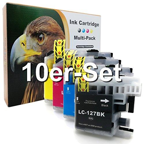 10er-Set D&C Druckerpatronen kompatibel mit Brother LC-127 LC-125 DCP J4110 DW MFC J4410 DW J4510 DW J4610 DW J4710 DW ersetzt LC-125 LC-127