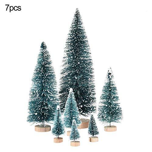 Wood.L 7 Stück Künstlicher Weihnachtsbaum, Mini Grün Tannenbaum,Naturgetreuer Christbaum Für Tischdeko, DIY, Schaufenster
