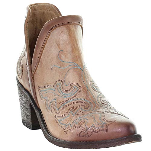 CORRAL Women's Circle G by Cognac Embroidery Fashion Booties Round Toe Brown 8.5 M
