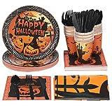 YARNOW Juego de accesorios para fiesta de Halloween, 24 platos, cubiertos de plástico, tazas, 24 servilletas y 2 manteles (146 unidades)