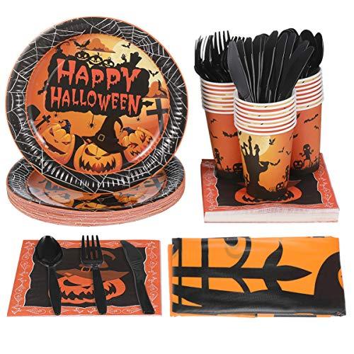 YARNOW Halloween Party Supply Pack Serviert 24 Halloween Geschirr Set Kürbisteller Plastikbesteck Tassen 24 Servietten Und 2 Tischdecken (146 Stück)