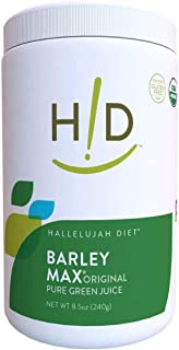 Hallelujah Diet Organic BarleyMax - Barley Grass Juice and Alfalfa Juice Powder, Vegan Formula, Plant-Based Dietary Supple...