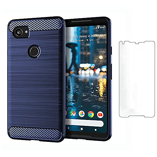 Asuwish Compatible with Google Pixel 2XL Case Tempered Glass Screen Protector Cover and Cell Accessories Slim Silicone Protective Phone Cases for Pixle 2 XL Pixel2XL Pixel2 2LX Carbon Fiber Navy Blue