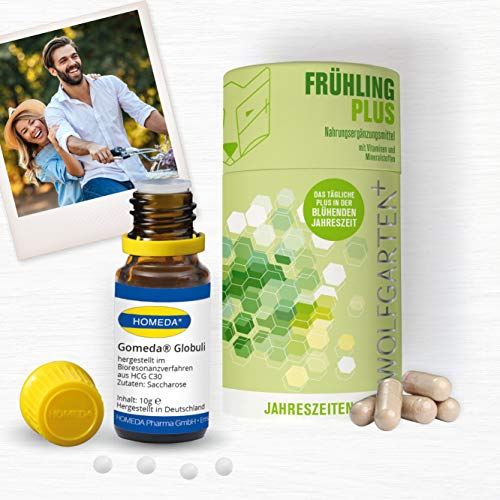 HOMEDA GOMEDA Frühling Set • hCG-Globuli • Globuli und Nahrungsergänzungsmittel inkl. Vitaminen und Mineralstoffen für Deine 21-Tage-hCG-Kur