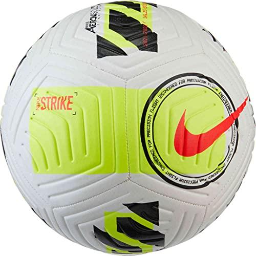 Nike Strike, Pallone da Calcio ricreativo Unisex-Adulto, White/Volt/Bright Crimson, 5