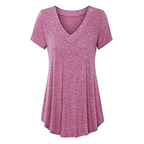 Buby Weste Tops Blusen Oberteile Damen Sommer Tiefer V-Ausschnitt Kurzarm Einfarbig Blumendruck Mode T-Shirt mit Knöpfen Saum Shirts Tunika Crop Tops für Damen