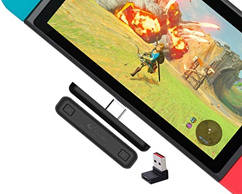 Gulikit Route Air Switch Bluetooth Adapter Wireless Audio Transmitter w/APTX Low Latency Compatible with Nintendo Switch & Switch Lite, PS4 PC Laptops for Airpods Bluetooth Headphone Speakers (Black)