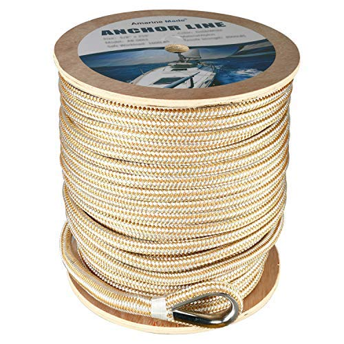 Amarine Made Heavy Duty Double Braid Nylon Anchor Line with Stainless Steel Thimble-White/Gold (5/8' x 600')