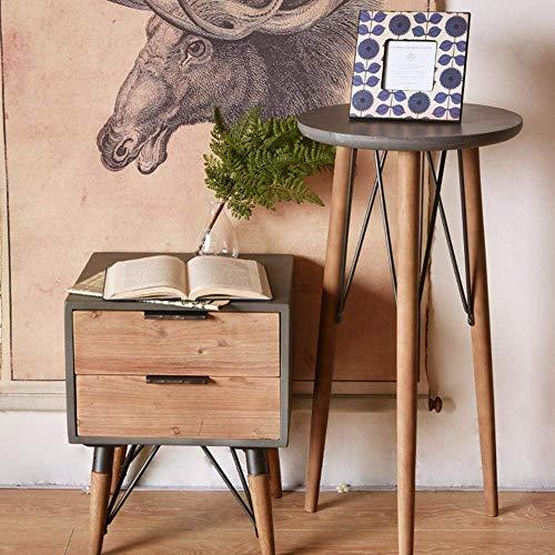 Mk's Gute Tv-staande lamp voor telefoon, tafel, eikentafel, industriële wind, salontafel, woonkamer, bijzettafel, imitatie, cement, bijzettafel, moderne, kleine ronde tafel, MK