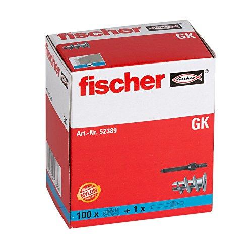 fischer Gipskartondübel GK, starker Gipskarton-Dübel, selbstschneidendes Gewinde, einfache Montage in Gipskarton, Kreuzschlitz-Antrieb, 100 Stück