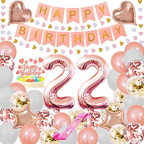 Happy 22ND Birthday Party Decorations Pack- Foil Number 22 Confetti Latex Balloons Star and Heart Foil Balloons Glitter Heart Hanging Paper Banner Happy Birthday Cake Topper Pink sash pertlife