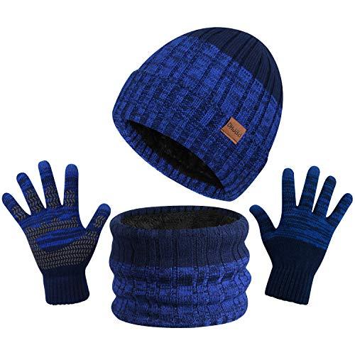 TAGVO 3in1 Winter Beanie Hut, Schal, Handschuhe Set,Ultraweiche elastische Verdickung Vlies Innenfutter Strick Beanie Cap Neck Warmer Warme Strickmützen, Mütze, Schal & Handschuh-Sets für Damen Herren
