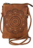 styleBREAKER Mini bolso bandolera para mujer con flores cortadas a láser y brillantes, 02012367, color Marrón, talla Einheitsgröße