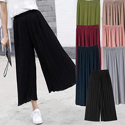 Pantalones plisados de chifón de cintura alta con volantes de pierna ancha para mujer en 75 ~ 140 kg negro negro
