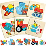6 Pack Wooden Puzzles for Toddler 1-3 Years Old Wood Jigsaw Puzzles for Boys Montessori Games and Educational Toys for Kids Wooden Toddler Puzzles Present (Vehicle)