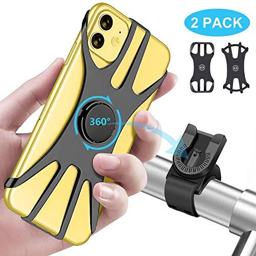 petit un compact OOWOLF 2Pcs Support de téléphone pour moto et vélo, Support de téléphone pour moto et vélo Rotation 360 ° Silicium robuste…
