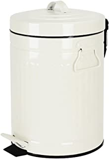 Bathroom Trash Can with Lid, Small White Wastebasket for Home Bedroom, Retro Step Garbage Can with Soft Close, Vintage Office Trash Can, 5 Liter/ 1.3 Gallon, Glossy White