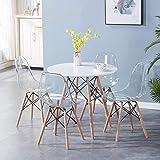 BenyLed Lot de 4 Tables de Salle à Manger Rondes de 80 cm - Table en Bois Massif et 4 chaises Transparentes Ensemble de Meubles de Salle à Manger pour la Maison, Le Bureau