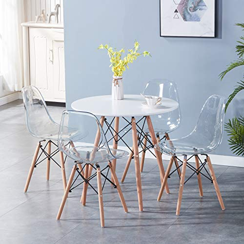 BenyLed 80cm Round Dining Table and Chairs Set of 4; Solid Wood Table and 4 Transparent Chairs, Dining Room Furniture Set for Home, Office, Kitchen, Balcony, and Garden